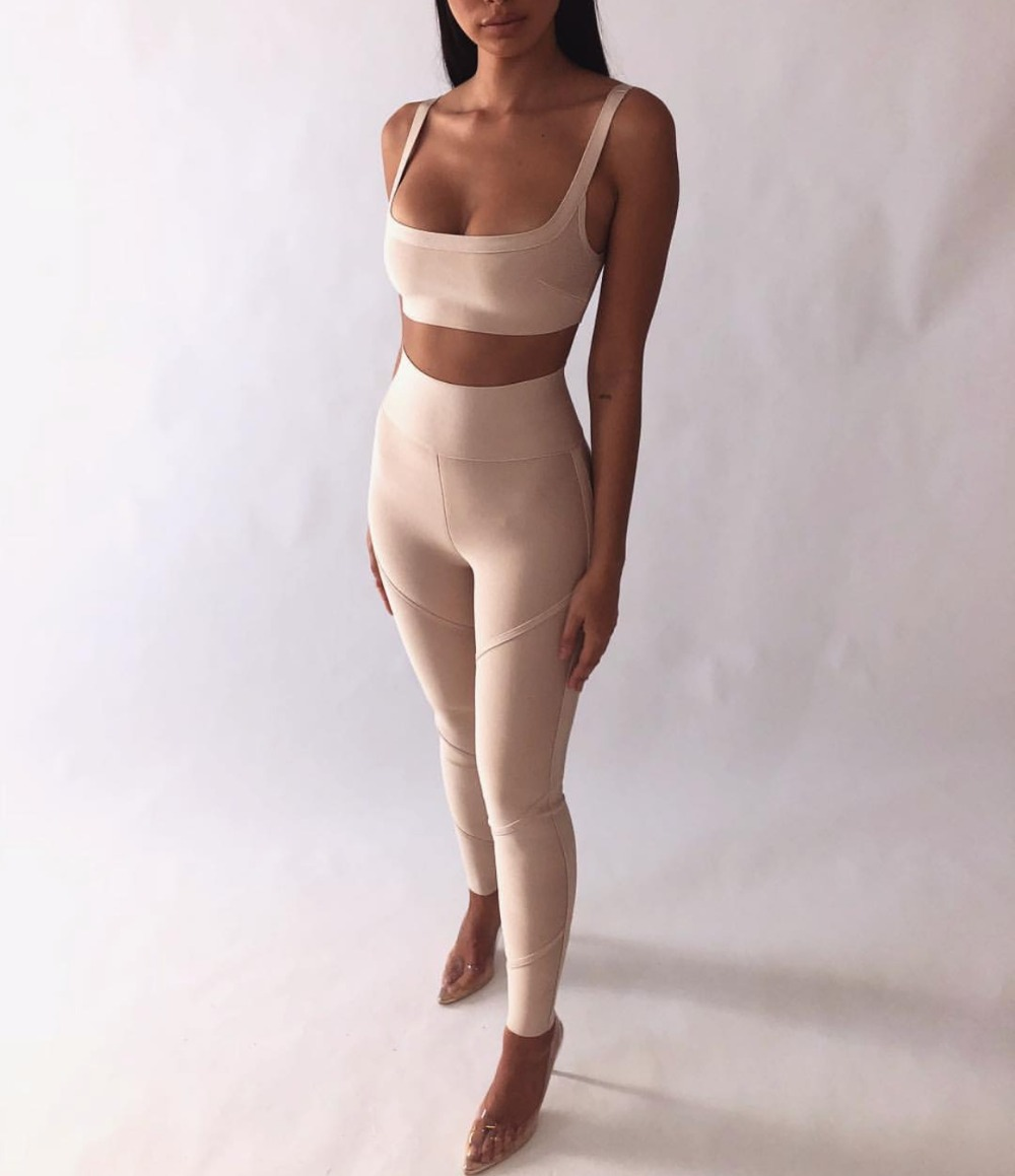 High Quality Khaki 2 Pieces Set Bodycon SEXY Rayon Bandage Set Night Club Party Set