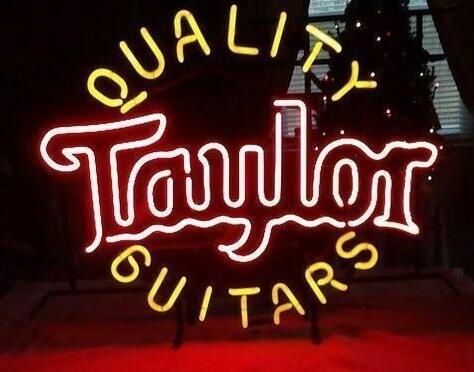 Custom Quality Guitars Taylor Glass Neon Light Sign Beer BarCustom Quality Guitars Taylor Glass Neon Light Sign Beer Bar