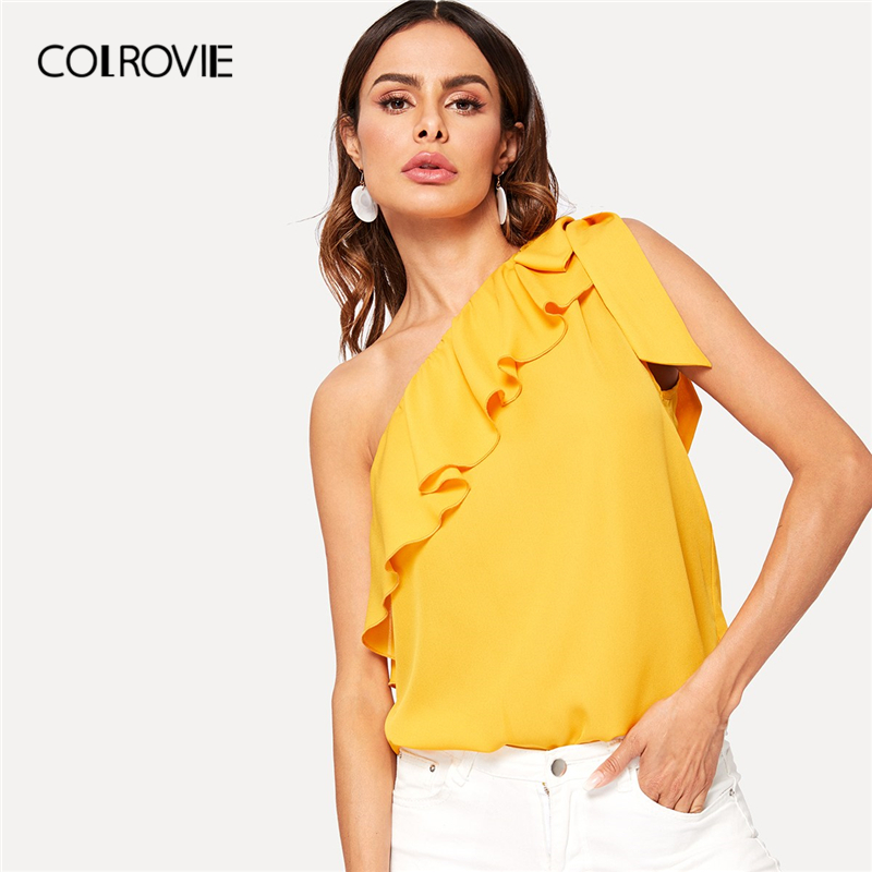 COLROVIE Ginger Asymmetrical Flounce Trim Knot One Shoulder Boho Sexy   Blouse     Shirt   Women 2019 Summer Sleeveless Knot Female Tops