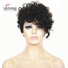 أسود قصير تسليط الضوء على مجعد شعر مستعار اصطناعي كامل أوبورن مزيج المرأة سيدة الباروكات