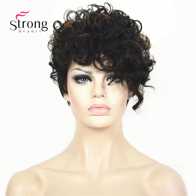 Short Black Highlighted Curly top Full Synthetic Wig Auburn mix Women lady wigs