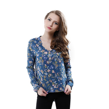 Softu New Women Vintage Floral Prints Long Sleeve V Neck Shirt Blusas Femininas OL Style Cotton Blouses Plus Size