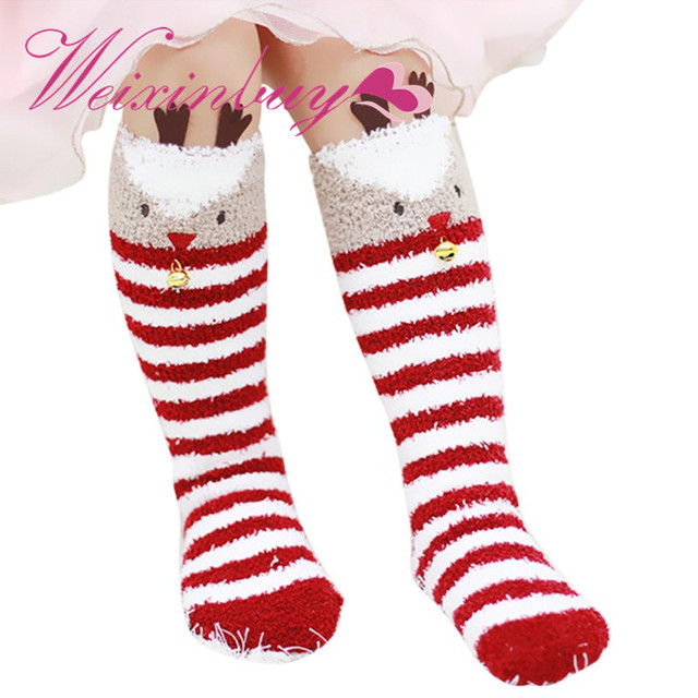 6a35b54ae1d WEIXINBUY Baby Knee-High Socks Winter Warm Christmas Stereo Socks Kids Soft  Cotton Cute Santa