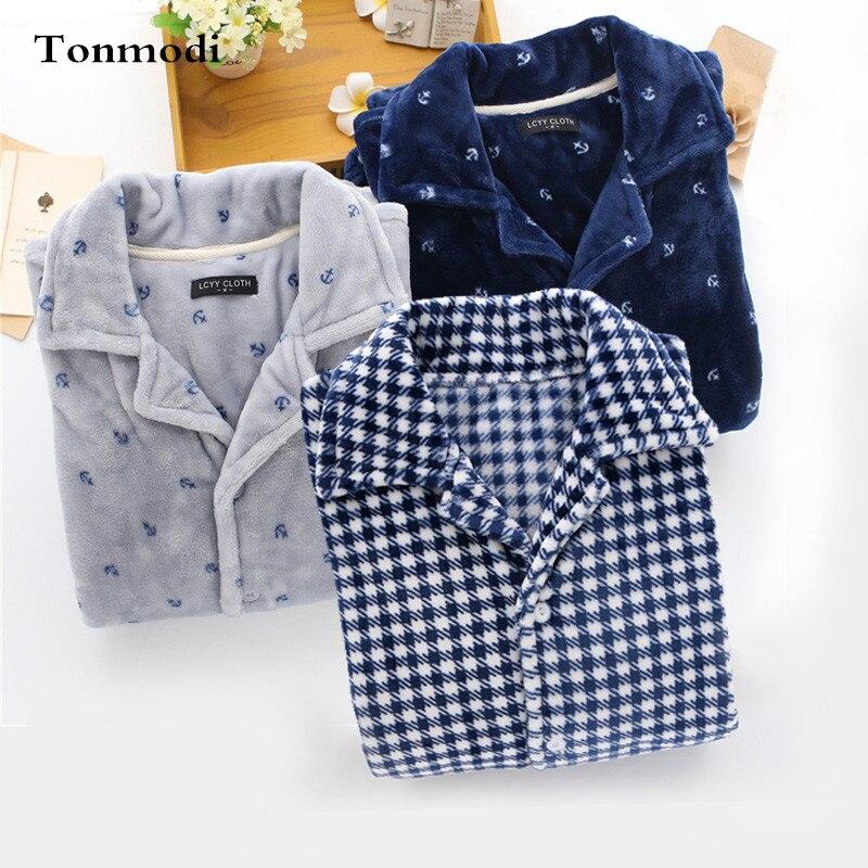 Pajamas For Men Autumn Winter Thickening Flannel Sleep Twinset Pyjamas Men lounge long sleeve Pajama Set