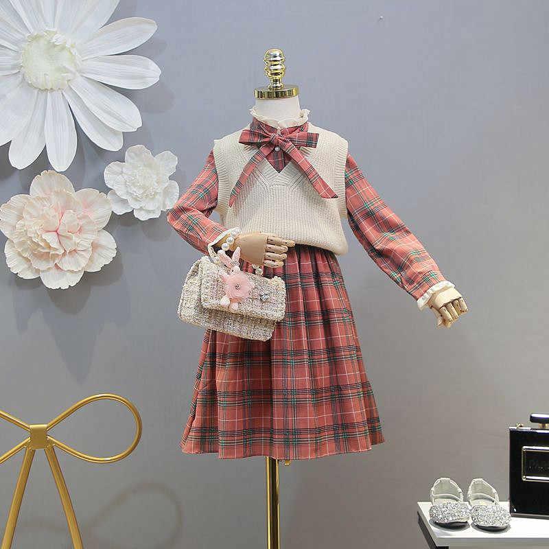 Детская одежда весенние модели 2019 года, новое платье для девочек клетчатое платье, свитер, жилет костюм из двух предметов Корейская версия океана