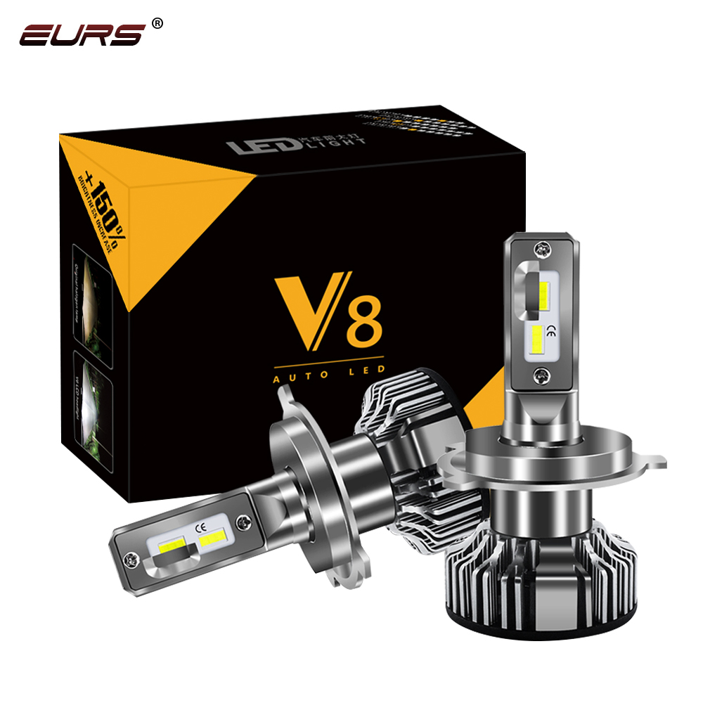 EURS Car Headlight H4 Hi/Lo Beam H7 LED H1 H3 H8 H9 H11 H13 9005 9006 9007 50W 12000lm 6500K Auto Headlamp Fog Light Bulbs V8