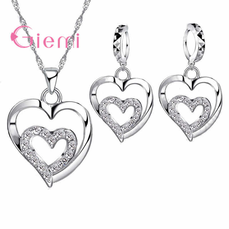 Romantic Women Jewelry Sets 925 Sterling Silver  Zircon CZ Crystal Double Love Heart Necklace&Earrings Jewelry Set Hot Sale