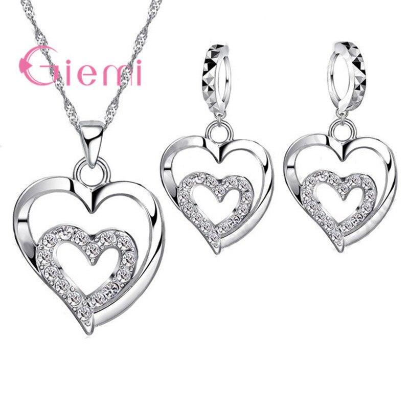 3c342afbd670 Giemi conjunto de joyas románticas para mujer 925 circonita de plata de ley  CZ cristal doble amor corazón collar y pendientes conjunto de joyas oferta