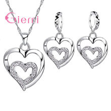 Romantic Women Jewelry Sets 925 Sterling Silver Zircon CZ Crystal Double Love Heart Necklace&Earrings Jewelry Set Hot Sale(China)