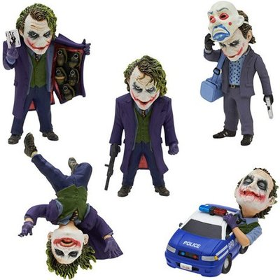 5pcs/set The Dark Knight Joker Keychain PVC Action Figure Collectible Model Toy 6~10cm