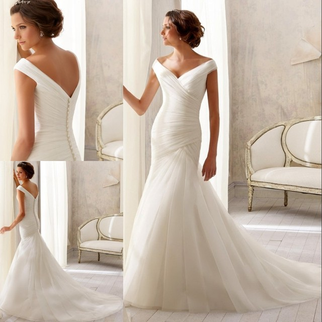 Free Shipping Long Mermaid Wedding Dresses Sleeveless V Neck White Organza Plus Size Court Train Ruched
