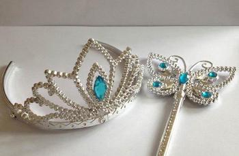 Blue wands crown set Christmas party girl fairy butterfly gem magic wands headwear princess COS props Favor blue gift