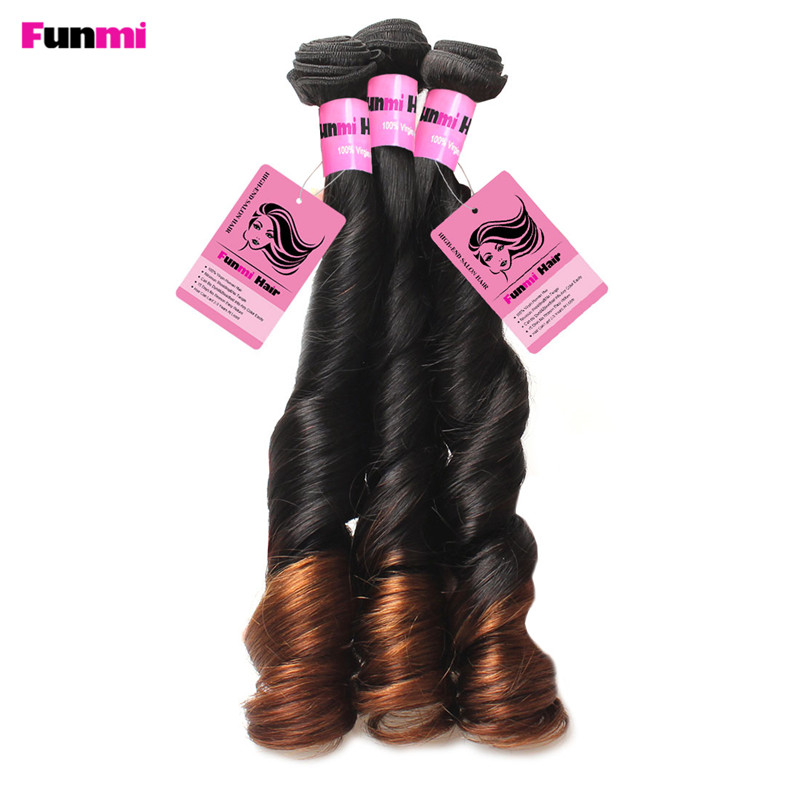 Ombre Brazilian Virgin Hair Bouncy Curly Human Hair Bundles Two Tone Color 1B 4 Medium Brown Ombre Funmi Hair Bundles Salon Hair