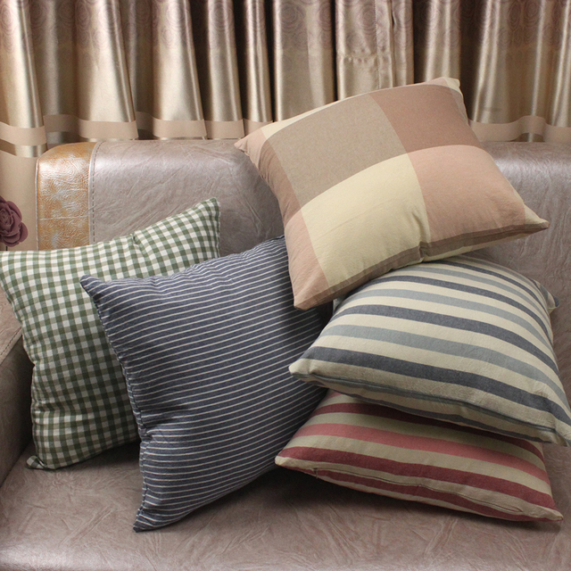 Multi Colors Stripe Plaid Plain 100% Washed Cotton Cushion Covers / Throw Pillow Covers Decorative Gifts for Home Store Hotel