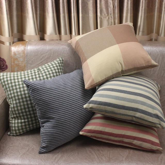 Multi Colors Stripe Plaid Plain Washed Cotton Cushion Covers