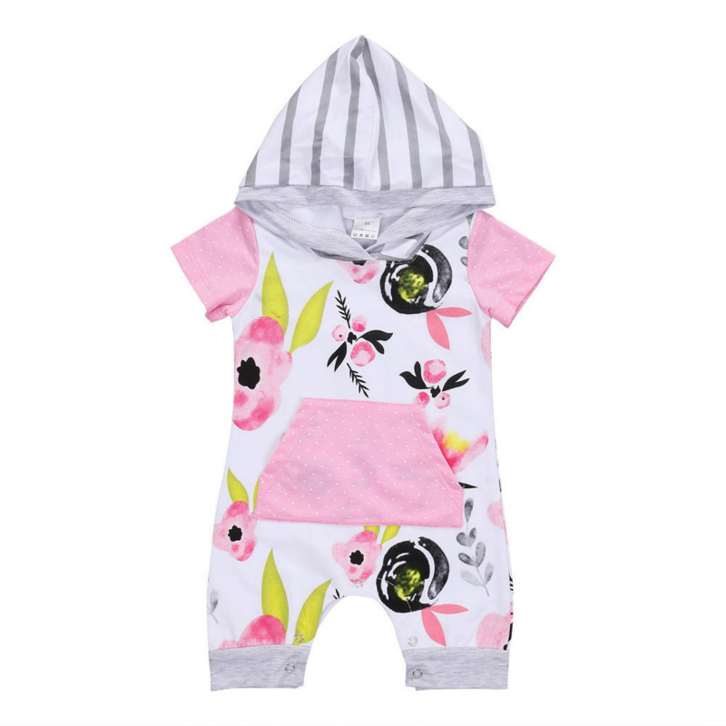 Summer Newest Floral Newborn Toddler Baby Girl Hooded Pocket Short Sleeve Romper Floral Jumpsuit Playsuit Fashion Clothes 0-24M