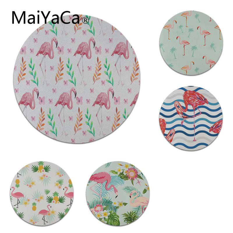 MaiYaCa In Stocked Flowers Summer Flamingos Round Mouse pad PC Computer mat Size for 200x200x2mm and 220x220x2mm Cool Mouse Pads