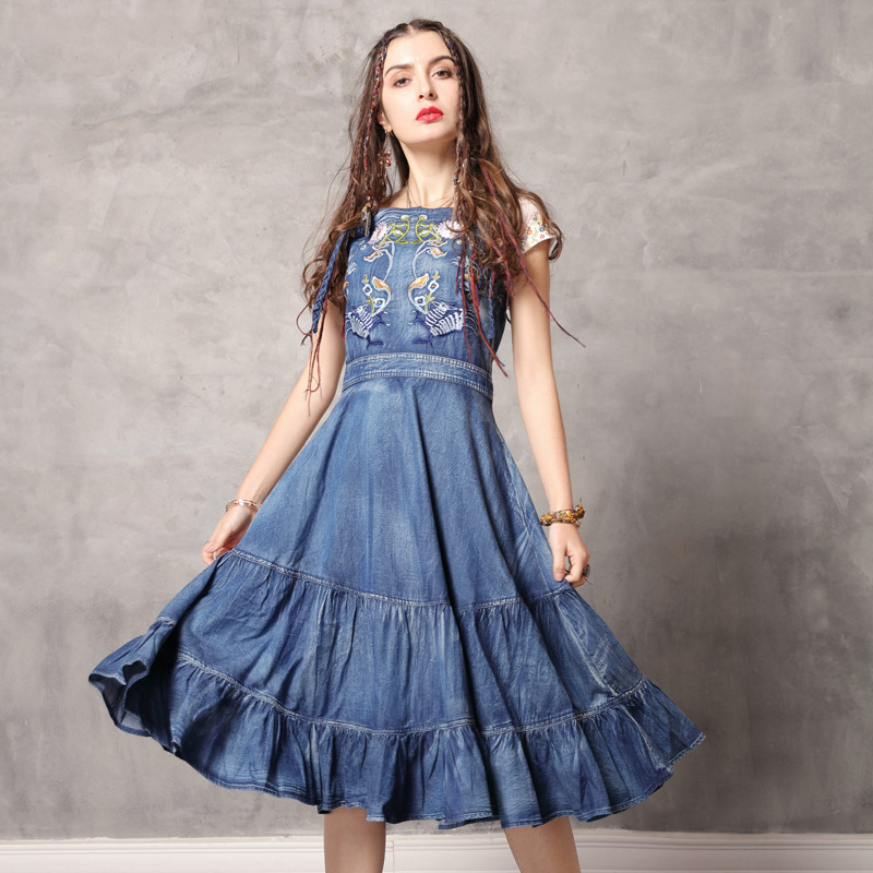 e462ef3810106 Sexy embroidered denim dress 2017 women backless floral spaghetti ...