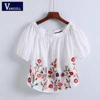 Vangull sexy slash neck flower embroidery blouse 2018 New Summer Short sleeve shirts ladies casual streetwear tops blusas