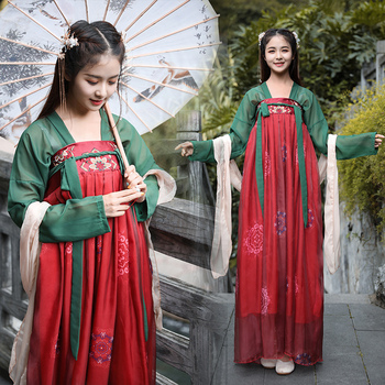 Hanfu Women Chinese National Dance Costume Ancient Festival Outfit Fairy Dress Oriental Folk Stage Performance Clothes DF1008