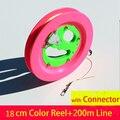 Envío de la alta calidad 18 cm carrete de la cometa 200 m línea de la cometa volante juguetes al aire libre del vuelo de la cometa weifang kite carrete de ventas al por mayor cadena