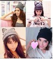 1 piece 2017 Cap Women Winter Warm Knitted Hat Wool Rhinestone Devil Horn Cat lace Ears Hat Skullies Beanies Femals Hats