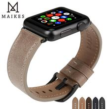 MAIKES Quality Leather Watch Strap Replacement For Apple Watch Band 44mm 40mm Series 4 & 42mm 38mm Series 3 2 1 iWatch Watchband leather band for apple watch 40mm 44mm series 4 high quality mixed color replacement strap for iwatch series 1&2&3 38mm 42mm
