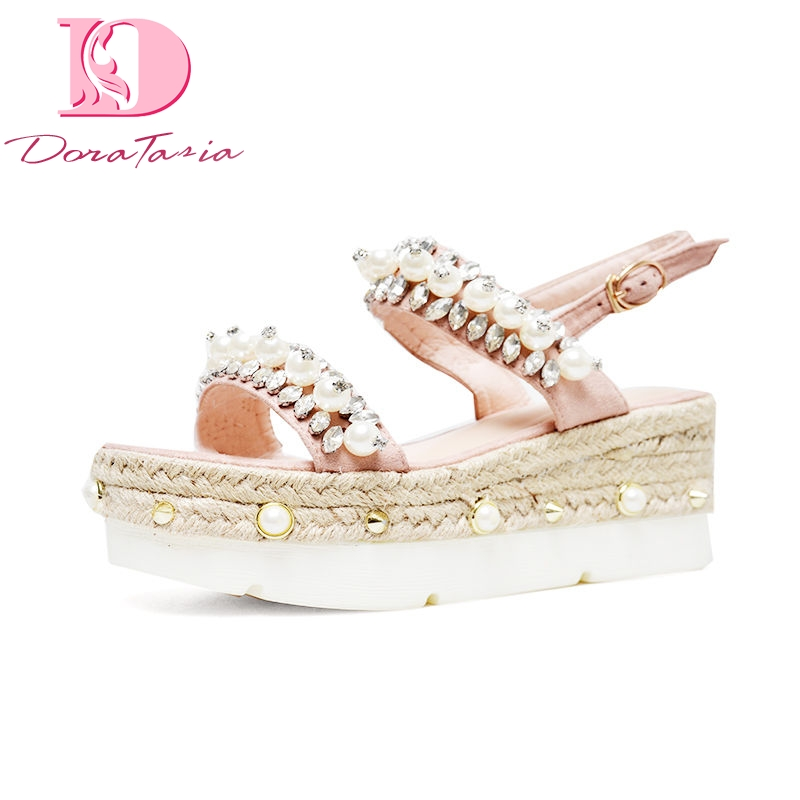 DoraTasia 2018 Summer Brand Quality Natual Suede Women Sandals Sweet Thick Platform Wedges Shoes Woman Crystal Casual Shoes new women sandals low heel wedges summer casual single shoes woman sandal fashion soft sandals free shipping