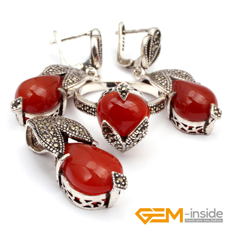 Jewelry Sets: Red agat & Antiqued Tibeten Silver Ring Earrings Pendant Jewelry Classical Jewelry For Party  Hot Item !Jewelry Sets: Red agat & Antiqued Tibeten Silver Ring Earrings Pendant Jewelry Classical Jewelry For Party  Hot Item !