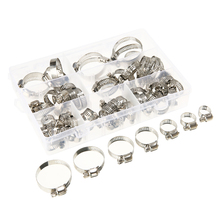 60pcs/lot 8-38mm Screw Worm Drive Hose Clamp Stainless Steel Clamps Adjustable Hoop Pipe Clip Mayitr
