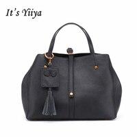 それのyiiyaホット黒グレー女性本革ハンドバッグファッションカジュアルタッセルビジネスolスタイル女の子バッグメッセンジャーバッグss1205