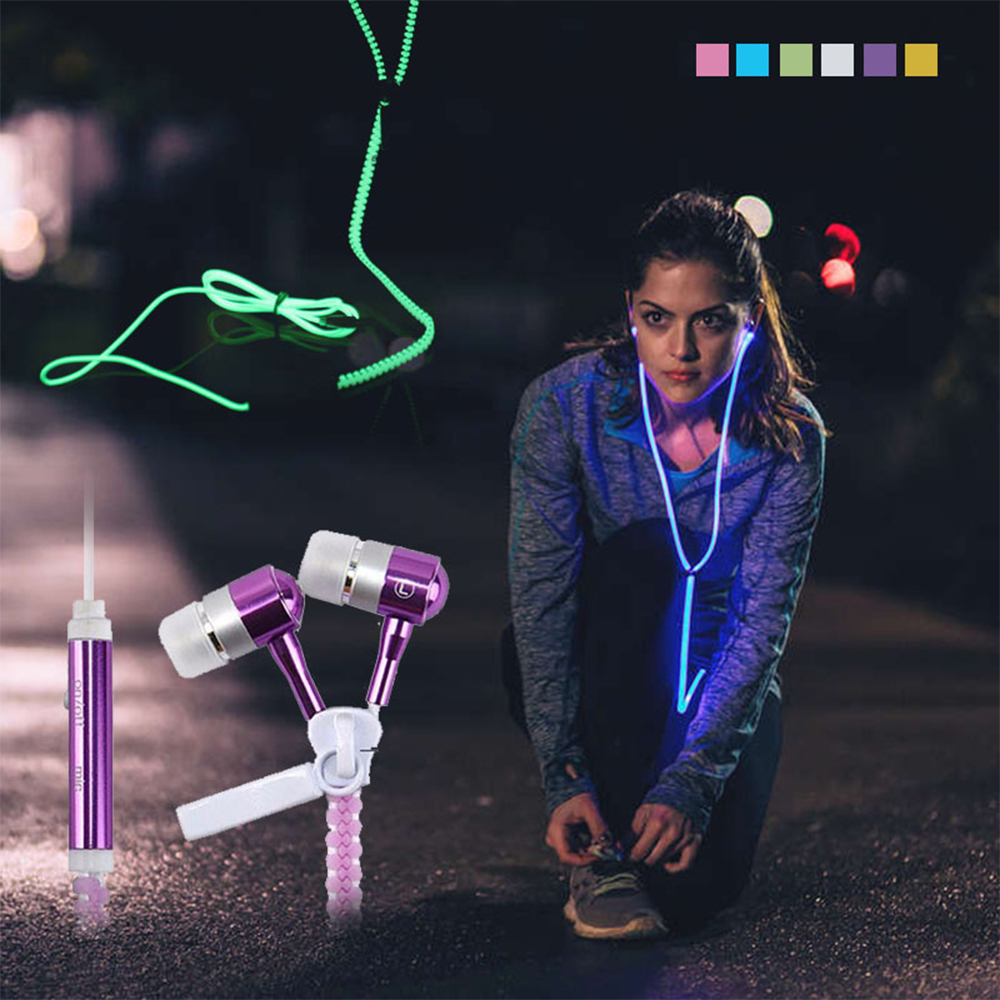 Metal Zipper Earphone Luminous Light Earbuds Glow In The Dark line wire earphone For Iphone Samsung Xiaomi MP3 With Mic