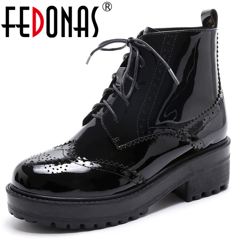 FEDONAS Punk New Women Genuine Leather Ankle Boots High Heels Lace Up Short Basic Boots High Quality Sexy Party Club Shoes Woman apoepo punk style silver mirror boots women lace up platform high heels shoes women boots sexy nightclub singer short boots