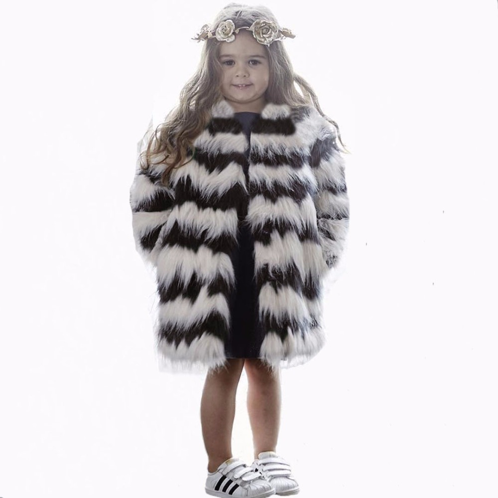 ФОТО Buenos Ninos Girls Autumn Luxury Faux Fur Coats White with Black Striped Brand Fashion Jacket Xmas Snowsuit 1-8Y Baby Outerwear