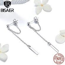 BISAER,, длинные серьги-Цепочки, 925 пробы, серебро, Т-образная полоска, Корейская длинная цепочка, женские серьги-гвоздики, 925, серебряные ювелирные изделия ECE550