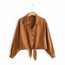 Za Women Brown Short Blouse 2019 Female Spring Single Breasted Long Sleeve Shirts Women-s Lace Up Linen Tops blusas mujer(China)