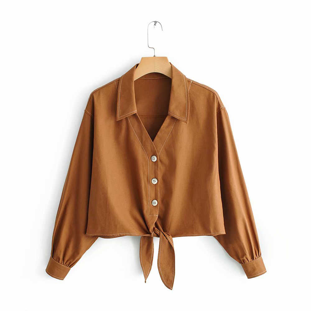 Za Women Brown Short Blouse 2019 Female Spring Single Breasted Long Sleeve Shirts Women-s Lace Up Linen Tops blusas mujer
