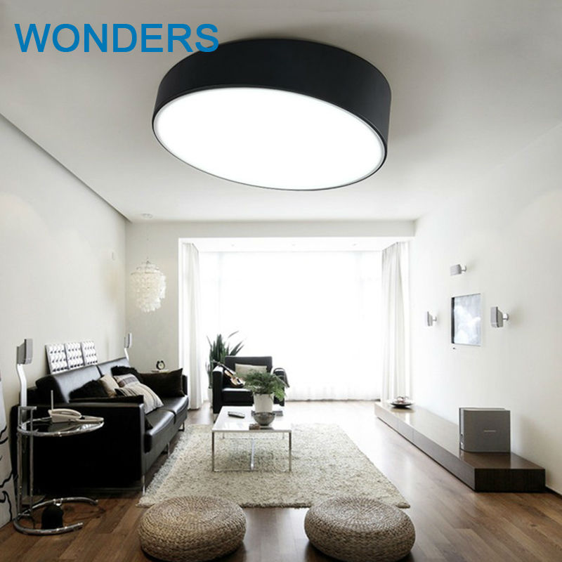 Modern artistic Ceiling light slanted rounded LED lamp iron white baked paint Acrylic faceplate panel for