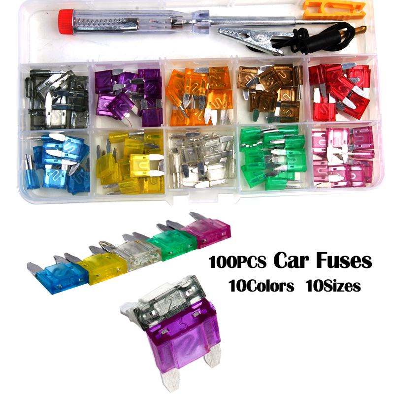 100PCS ATC 10 Sizes Assorted Micro Size Blade Fuse Car Auto Truck Mini Fuse Mix Set unfoiled mix sizes 1440pcs crystal