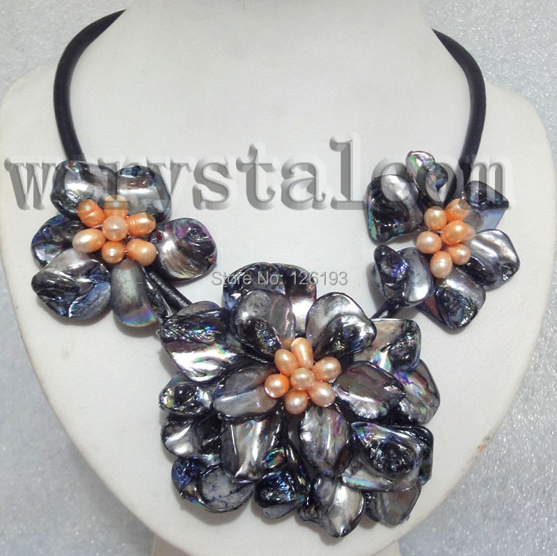 Charming Real Cultured Freshwater Pearl Black Shell Flower Necklace Leather