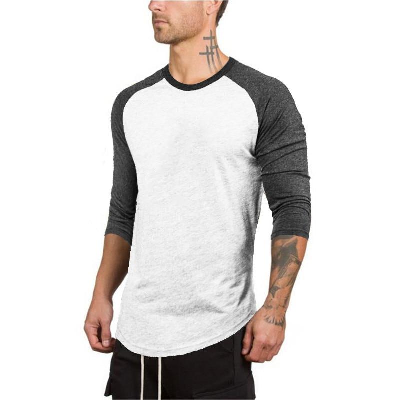3/4 Sleeve Plus Size Summer Autumn Casual Slim Elastic Soft Patchwork Long Sleeve Men   T     Shirts   Male Fit Tops Baseball Raglan Tee