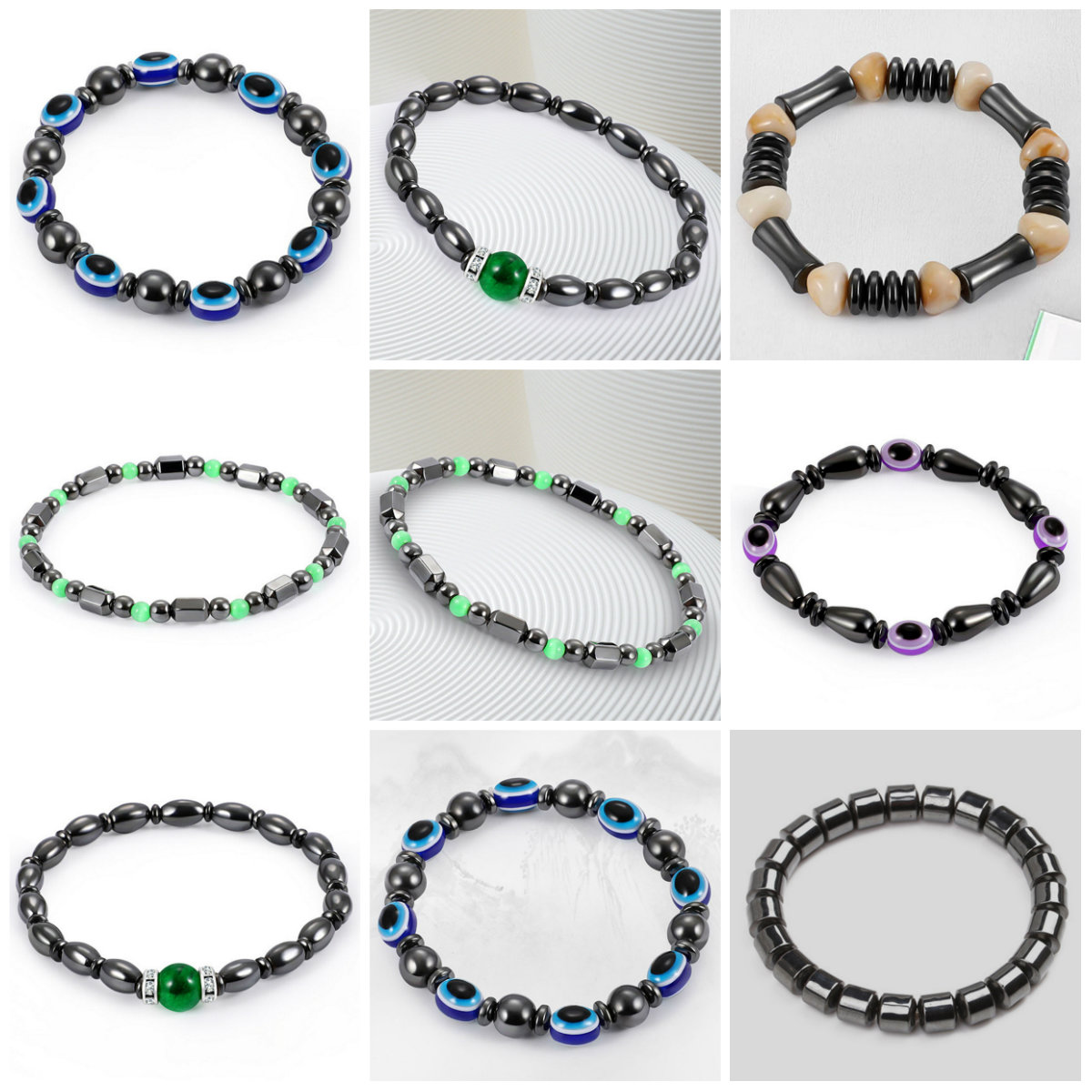 Colorful Bracelet Hematite Magnetic Weight Loss Slimming Bangles Black Gallstone Acupoint Massage Health Care Accessories