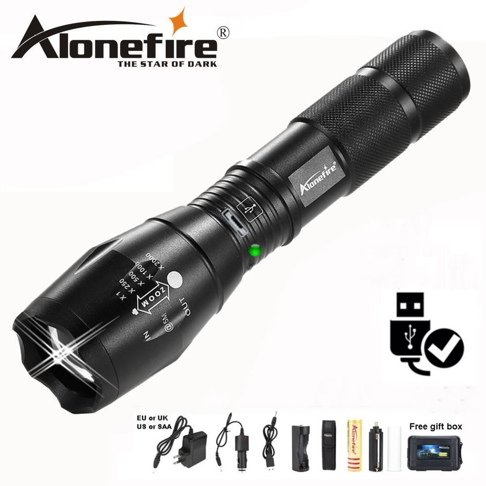 AloneFire High Bright G700-U CREE XM-L T6 USB Rechargeable LED Flashlight Zoomable linternas LED Torch lamp for 18650 battery super 3000lm zoomable cree xm l t6 led 18650 flashlight torch super bright light 170118