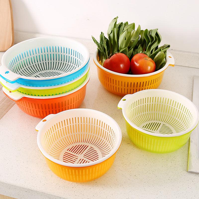 Kitchen Double Plastic Drain Basket Lid Multi Wash Fruit Colanders Drain Basket Vegetables Drainage Sieve Food Wash Strainers