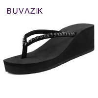 Summer New Wedges Flip Flops Sequin Shoes High Heeled Sandals Antiskid Platform Women Sandals 2015
