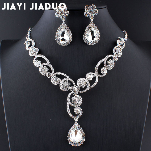 jiayijiaduo Simulated Pearl Jewelry Wedding Bridal Jewelry Sets silver-color Flower Choker Necklace Earrings