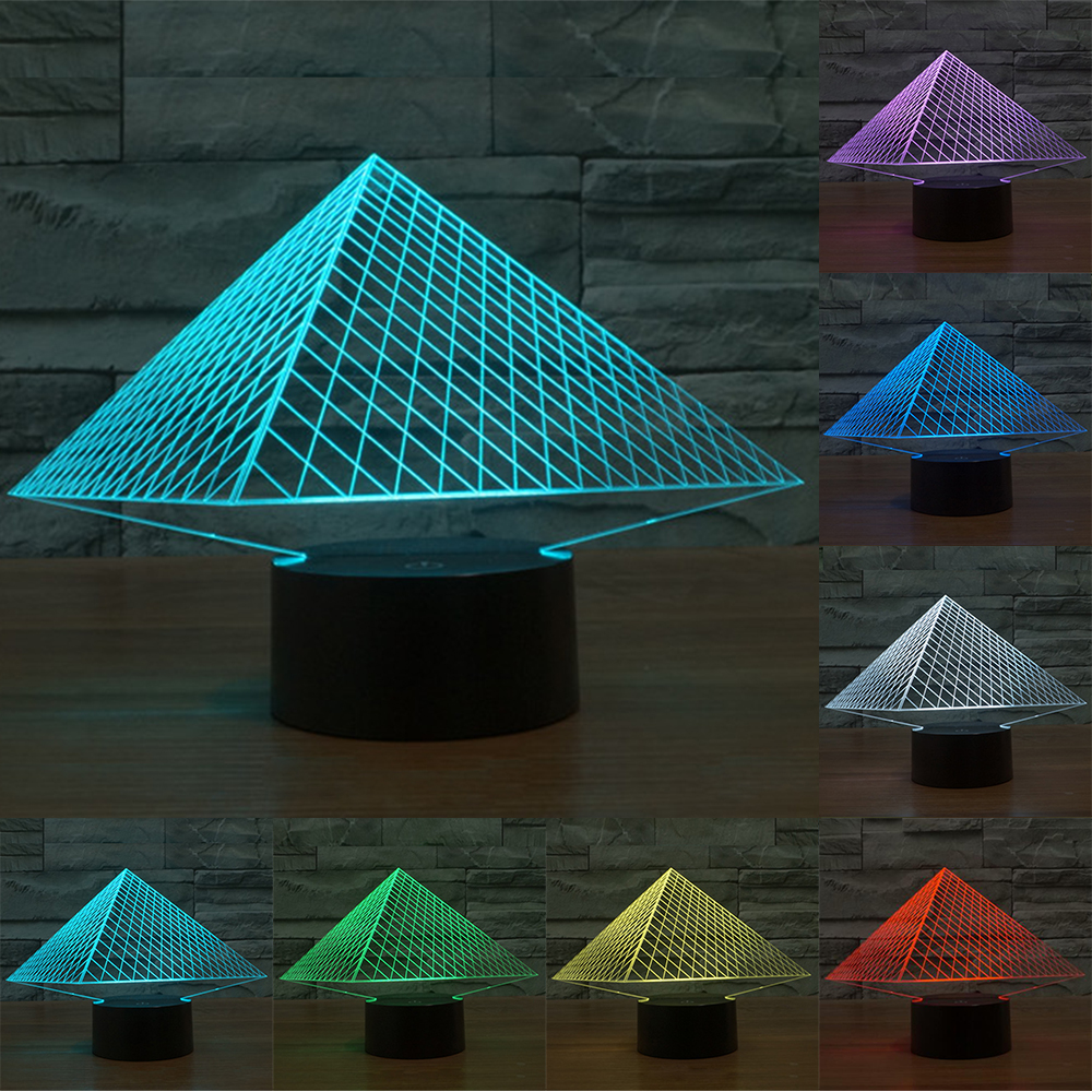 7 Colors Pyramid 3D lamp LED acrylic stereoscopic light gradient Nightlight Touch Switch LED Lamp Table