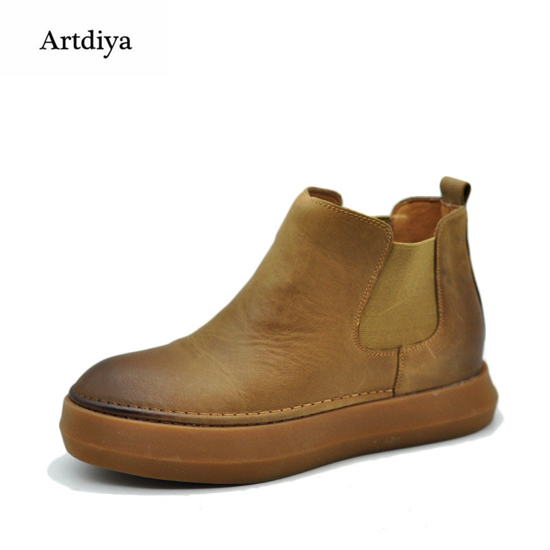 Artdiya / Artmu Original Chelsea's Boots Retro Casual Handmade Boots Genuine Leather Thick Sole Cowhide Ankle Boots 6912 цены онлайн