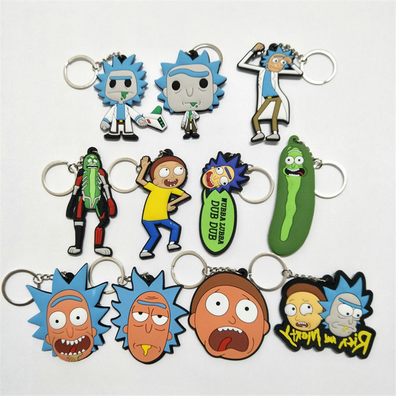 Fancy&Fantasy Rick And Morty Keychains For Men Gifts Cucumber Key Chain Action Figure Collection Model Toy Pendant Silica Gel