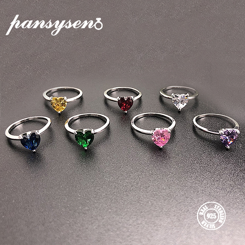 PANSYSEN Romantic Heart Topaz Rings For Women 7MM Gemstone Silver 925 Jewelry Engagement Party Ring Hot Sale Fine Jewelry Gifts